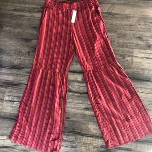 Drew Wide Leg Striped Linen Pants Sz L NWT